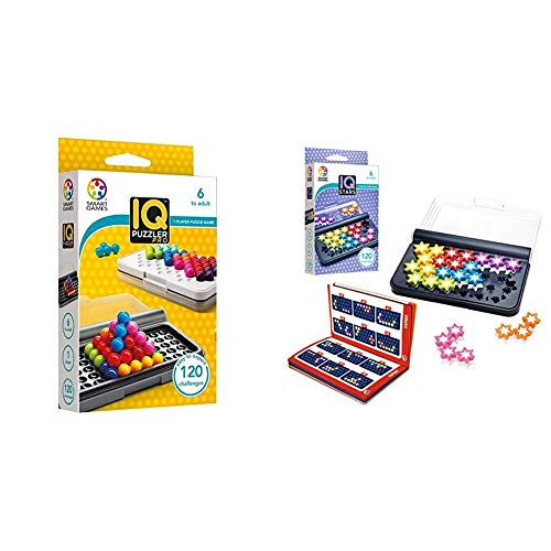 smart games SG455 IQ-Puzzler PRO, Geschicklichkeitsspiel, Reisespiel, Gehirntraining & SG 411 IQ-Stars, Multicolour