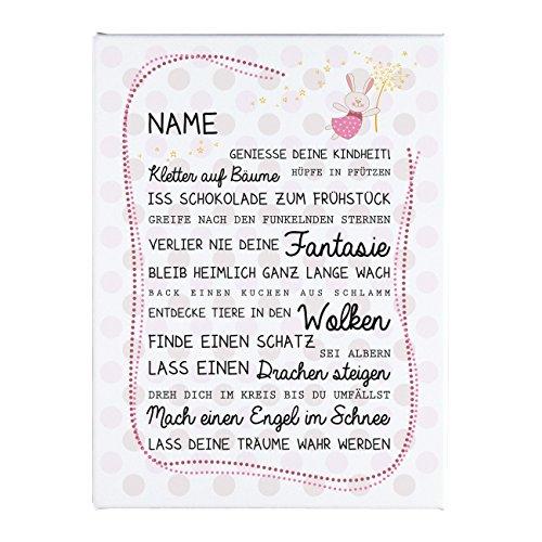 Herz & Heim® Leinwand mit Sprüchen zur Geburt eines Mädchens als Babygeschenk mit Namen