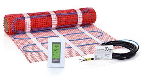 10 sqft Mat Kit, 120V Electric Radiant Floor Heat Heating System w/Aube Programmable Floor Sensing Thermostat