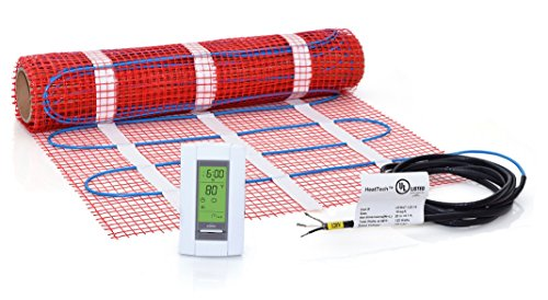 10 sqft Mat Kit, 120V Electric Radiant Floor Heat Heating System w/Aube Programmable Floor Sensing Thermostat