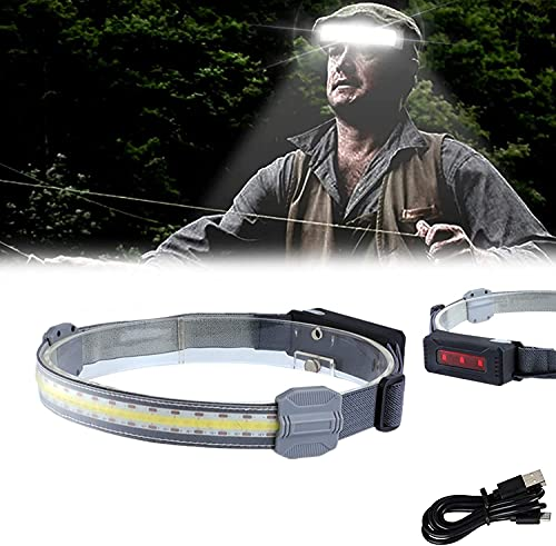 Hi-Beam Work Light Headband Rechargeable,Ultra-Low Profile Durable Elastic Headband, Multiple Light Modes, Great for Running, Cycling, Hiking