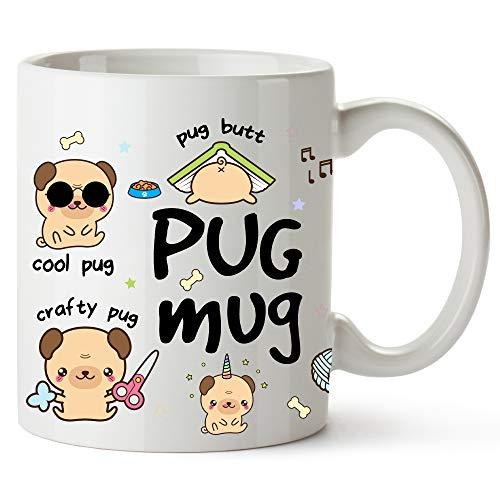 YouNique Designs Pug Mug, 11 Ounces, Pug Gifts for Pug Mom, Pug Stuff
