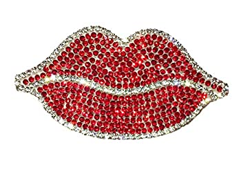 Ling s boutique TM  Various Patterns of Crystal Car Stickers,Decorate Cars Bumper Window Laptops Luggage Rhinestone Sticker,White  Red Lip