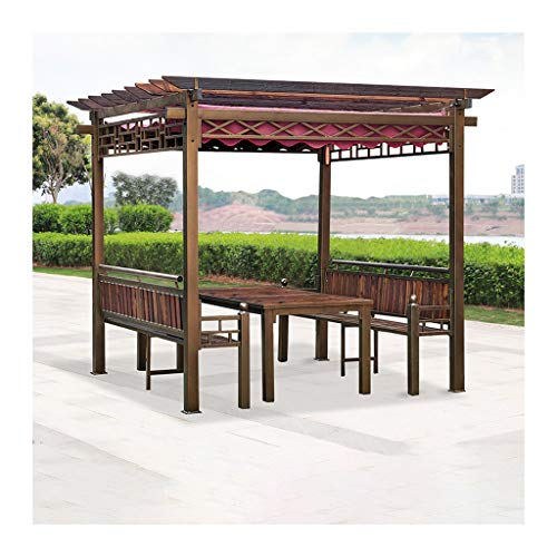 HLZY Garden Furniture Gazebo Garden Gazebo, Patio Pavilion, Villa Garden Gazebo Grape Rack, Wooden Gazebos for Patios with Desk, for Lawn, Garden, Backyard and Deck Outdoor Canopy