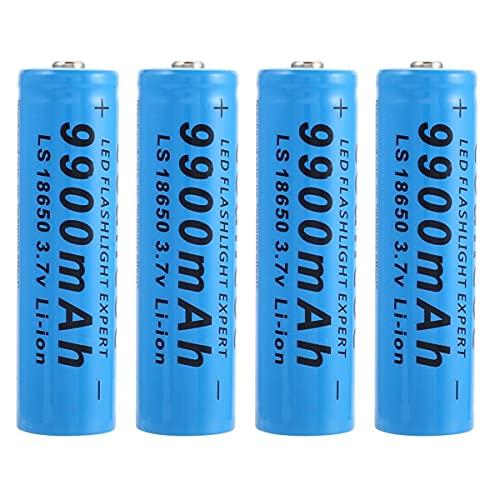18650 Batterie 18650 Piles Rechargeables 3.7V 9900mAh Lithium Li-ION Batterie Rechargeables Haute Capacité Bouton Top Batterie Piles Rechargeable pour Lampes de Poche, Éclairage Solaire(Lot de 4)