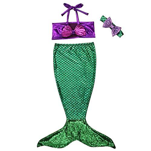 Bebé Niñas Niños Traje de Baño Traje de Colas de Sirena para Princesa Traje de baño Bikinis Falda Conjunto de Sombreros 0-9 Años (80 (12-24 Meses), B-Verde)