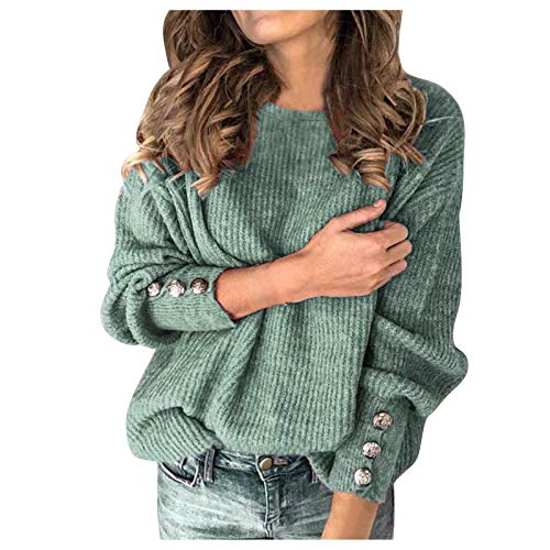 iYBWZH Women's Fashion Solid Color Pullover Tops Casual Round Neck Warm Long Sleeve Sweater Blue