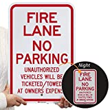 'Fire Lane - No Parking, Unauthorized Vehicles Towed' Sign By SmartSign | 12' x 18' 3M Engineer Grade Reflective Aluminum
