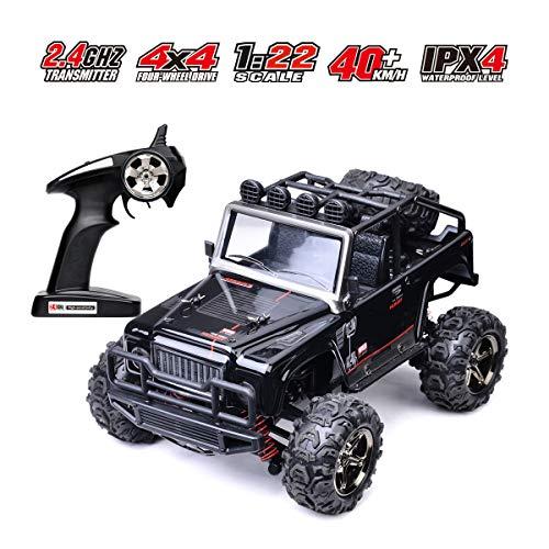 MKZDGM Ferngesteuertes Auto, 2,4 GHz Hochgeschwindigkeits-Rennwagen , Elektrische RC-Autos im Maßstab 1:24 Lastwagen, RC-Fahrzeuge, Funk Ferngesteuerter Lastwagen, Off Roadtruck (Black)