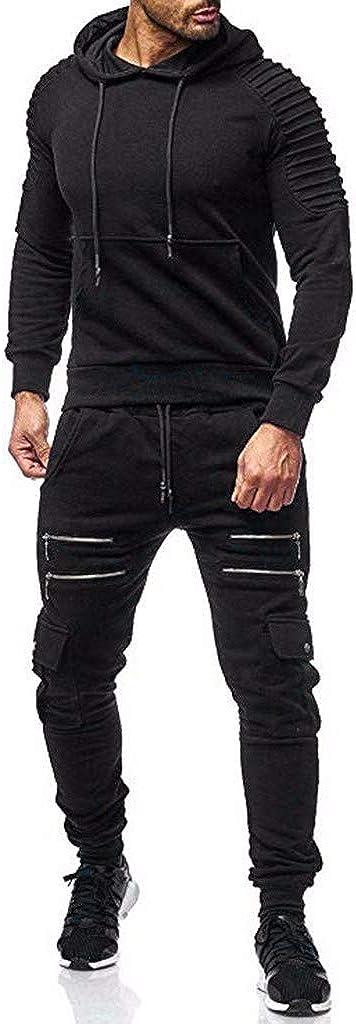 FORUU Men's Tracksuit,Casual Fashion Comfy Print Full Zip Sweatshirt Hooded Top Pants Sets Sports Suit Activewear