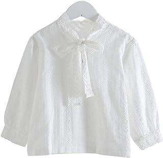 K-Youth Ropa Bebe Niña Invierno Encaje Lazo Camiseta Manga Larga Bebe Niños para 3 a 8 años Blusa Bebe Ropa Recien Nacido ...