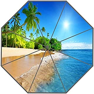 BEESCLOVER Custom Palm Beach Umbrellas New Arrive Useful Foldable Sunny and Rainy Sunscreen Umbrella