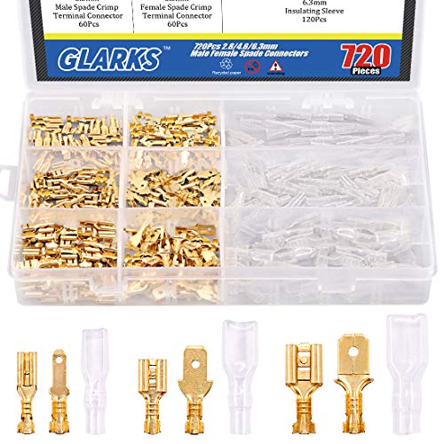 Glarks 720Pcs 2.8mm 4.8mm 6.3mm Male and Female Wire Spade Connector and Insulating Sleeve Assortment Kit Copper Wire Crimp Terminal Block with Nylon Sleeve Set for Car Audio Speaker