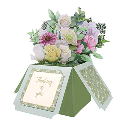 Oritouchpop Thinking of You Card, Pop Up Colorful Floral Card for Sympathy, Encouragement, Get Well Soon, Friendship, Bussiness Sentiments Greeting Card-Pop Up Flower Bouquet