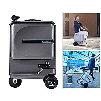 Zdcdy Electric Luggage Scooter, Smart Riding Scooter Suitcase, Foldable Suitcase Electric Luggage with Removable Power Bank Battery, for School Airport Business, Loading 100kg,Black-B