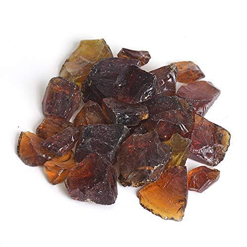 Reflektierendes Feuerglas-Kies, Feuersteine, Feuersteine, Steine, Steine, Perlen, Chips für Feuerschale, Aquarium, Garten, 1-2 cm, 540 g bernsteinfarben