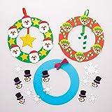 Baker Ross Kits de couronnes de Noël (Paquet de 3) - Loisirs créatifs de Noël pour Enfants