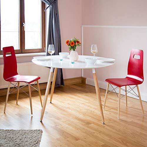 Relaxdays Table à Manger Ronde Arvid Style scandinave 6-8 Personnes HxD: 75 x 120 cm en Bois, Blanc