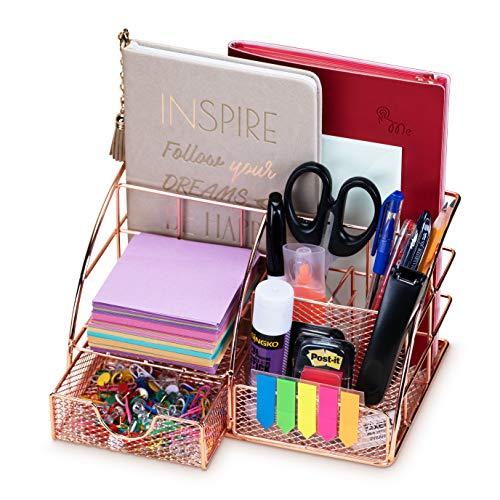 Rose Gold Desk Organizer for Women Cute Home Office Accessories & Supplies Decor, Girly Desktop Stationary Essentials Organization Set, Mesh Caddy Storage 5 Compartments +1 Mini Sliding Drawer