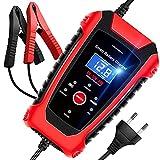 AOKBON Chargeur de Batterie Intelligent 6A 6V/12V/24V avec Écran LCD Chargeur Moto Portable Rapide Multiples Modes de Charge de Protection de Réparation pour Batterie de Voiture Moto Bateau