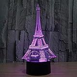 Yangeryang Torre Eiffel Luz Nocturna para niños, lámpara de sueño, luz de sueño para niños, 7 Colores Cambiando, Lámpara de decoración del Dormitorio en el hogar