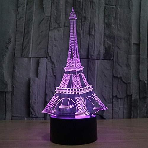 Luces de Noche Torre Eiffel Luz Nocturna para niños, lámpara de sueño, luz de sueño para niños, 7 Colores de Color, lámpara de decoración del Dormitorio en el hogar MYCH