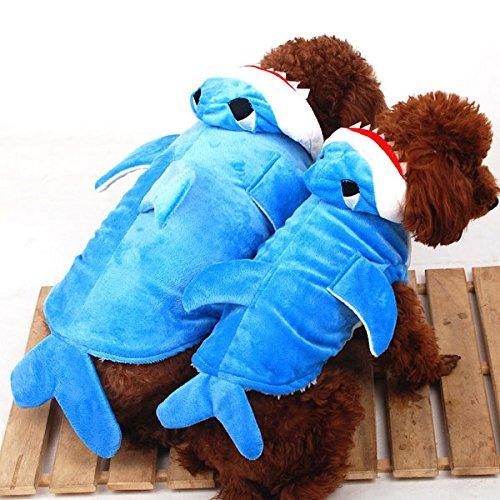 Pet vêtements pour chien chat en velours Doublure en polaire pull Requin Combinaison Bleu Costume pour chien Taille XS S M L XL