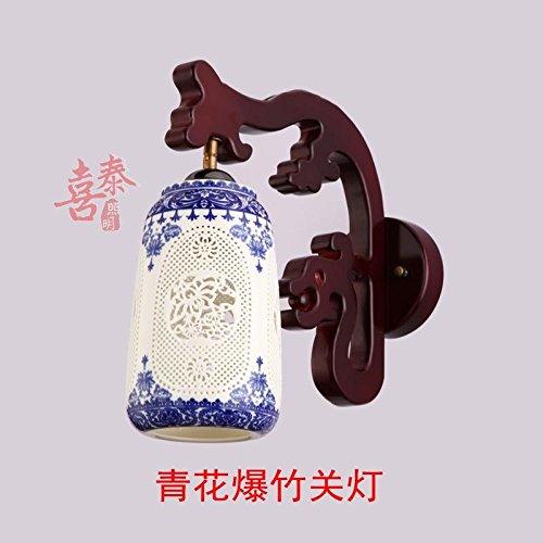 Modern messing warm en koud wastafel kraan badkamer wastafel kraan Chinese massief hout keramische muur lamp kraan creatieve achtergrond muur lamp led muur lamp woonkamer thee-huis loopbrug spiegel koplampen A6