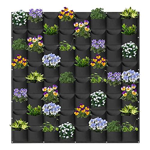 AkiiGer 64 bolsas colgantes para plantas, plantas de pared, exteriores e interiores, vertical, para plantas, decoración de pared para hogar, oficina, balcón, decoración de pared (negro)