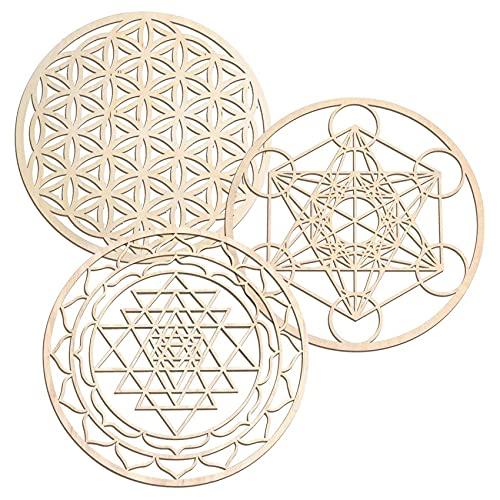 Baalaa Juego de 3 piezas de arte de pared de geometría sagrada arte de pared, arte de la geometría sagrada, escultura, decoraciones de pared para la decoración del hogar