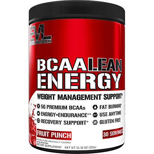 Evlution Nutrition BCAA Lean Energy - Essential BCAA Amino Acids + Vitamin C, Fat Burning & Natural Energy for Performance, Immune Support, Lean Muscle, Recovery, Pre Workout, 30 Serve, Fruit Punch