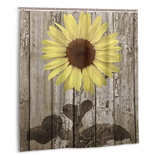 KENADVI Cortina de Ducha de baño Lavable,Flores Amarillas,Granja Floral de Primavera,con Ganchos,Tela de poliéster Impermeable,decoración de baño,66 x 72 Pulgadas