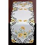 Creative-Linens-Sunflower-Table-Runner-15×53-Embroidered-Cutwork-Dresser-Scarf-White