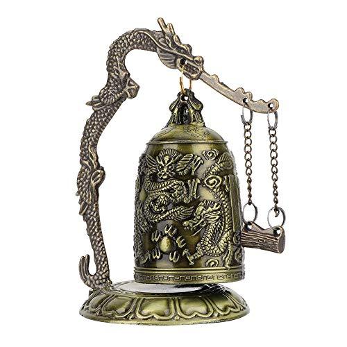 Atyhao Vintage Dragón Bell, decoración de campana budista budista, decoración de artes artesanales