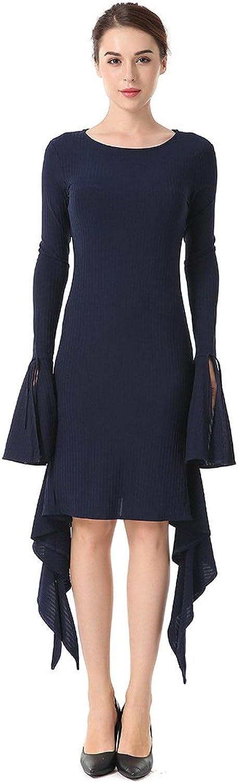 Kleid der Frau Damen Kleid Pure Farbe Langarm Rundhalsausschnitt Blaumenärmel Frühling Sommer New Cocktail Party Hochzeit Abendempfang Tägliches Tragen B07CDD736J  Aktuelle Form