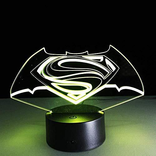 3D LED Illusion Light Superman et Batman 7 Couleurs Télécommandé Dimensionnelle Lumière Optique Veilleuses Lampe de Table Ambiance Décoration Enfants Cadeaux D'anniversaire
