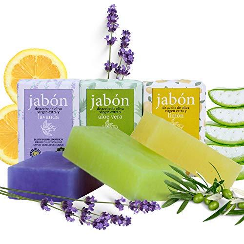 Pack 3 Jabones Naturales con Aceite de Oliva Virgen Extra + Limón, Lavanda y Aloe Vera. Jabón de Manos, Rostro y Cuerpo 100% Artesanal sin parabenos