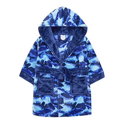 MiniKidz & 4Kidz Kinder/Jungen Bademantel, Hai, Camouflage, Fleece Gr. 7-8 Jahre, blau