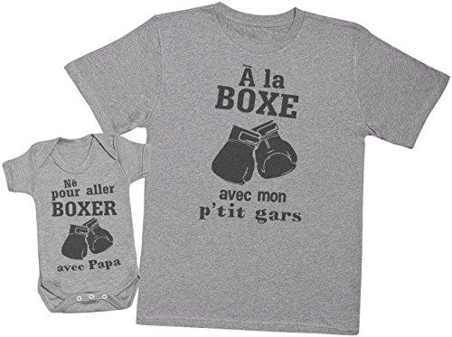 Zarlivia Clothing Né pour Aller Boxer avec Papa - Ensemble Père Bébé Cadeau - Hommes T-Shirt & Body bébé - Gris - S & 0-3 Mois