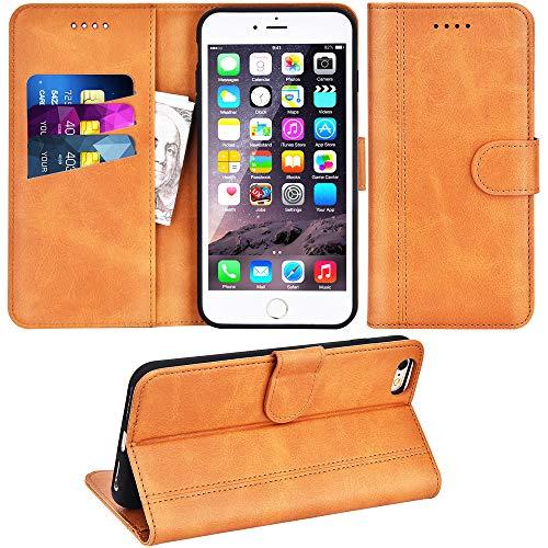 Adicase iPhone 6 Plus Hülle Leder Wallet Tasche Flip Hülle Handyhülle Schutzhülle für Apple iPhone 6 Plus / 6S Plus 5,5 Zoll (Braun)