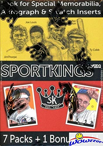 2018 SportKings Series 1 Factory Sealed Blaster Box with Autograph, Memorabilia or Painted Art Card! Look for Memorabilia Cards of Michael Jordan! Look for Icons Cut Signature Cards! WOWZZER