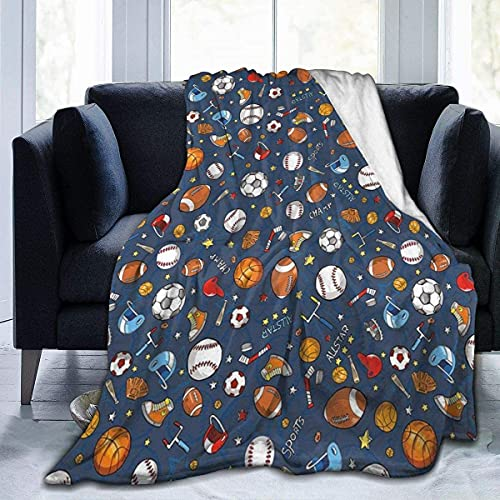 HIPPOY Manta de forro polar, guantes de béisbol y fútbol campeón, ligeros, lindos y suaves, para sofá, silla, cama, oficina, viajes, camping