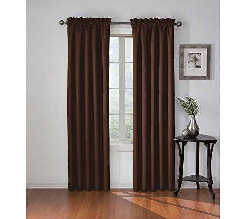 """Eclipse Corinne Rod Pocket Curtains for Bedroom, Single Panel, 42"""" x 63"""", Espresso"""