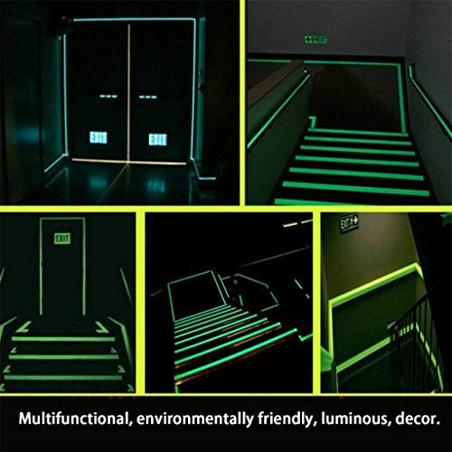ErYao Glow in The Dark Tape Luminous Photoluminescent, Luminescent Emergency Roll Safety Egress Markers for Stairs, Walls, Steps, Exit Sign. Glowing Pro Theatre Stage Floor, 10m (White, 2cm Width)