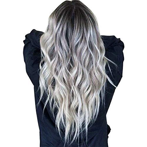 guohanfsh Peruca feminina ondulada longa mistura cinza resistente ao calor cabelo sintético encaracolado lace frontal