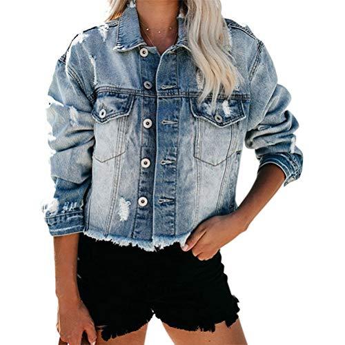 ORANDESIGNE Damen Mädchen Beiläufig Stilvoll Bestickt Rose Gewaschene Jeans Denim Jeansjacke Jacket Oberbekleidung Coats Mantel E Blau M