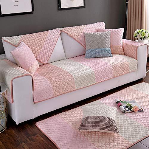 Ginsenget Funda para sofá de 1/2/3/4 plazas,Funda para sofá Fundas Antideslizantes Funda Protectora para sofá Funda Resistente al Agua para Muebles,Toalla de Felpa para Respaldo de sofá,Rosa,70X210cm