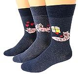 Shimasocks Herren Motiv Socken Schweinchen, Farben alle:jeansmeliert, Größe:43/46 Dreierpack