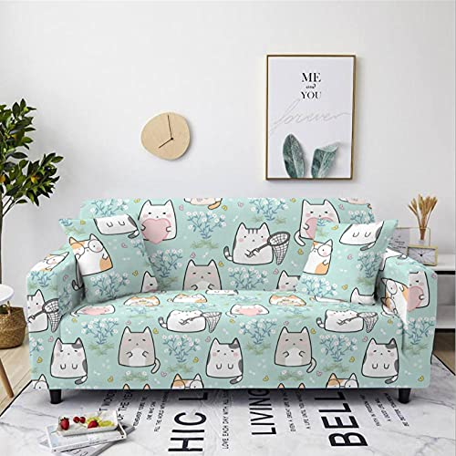 Sofa Cover Cartoon Cat 4 Seater Stretch Corner Sofa Armchair Slipcover Printed Couch Cover 1-Piece Universal Anti-Slip Spandex Furniture Protector with 2 Free Pillowcase