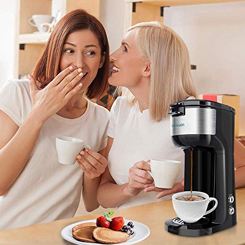 HAMSWAN Single Serve Coffee Maker with Self Cleaning Function